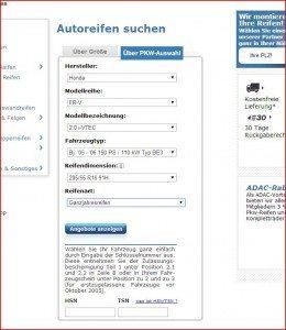 ReifenDirekt.de Suche nach PKW