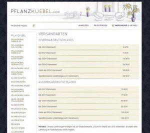 Pflanzkuebel.com Zahlungsarten Versand