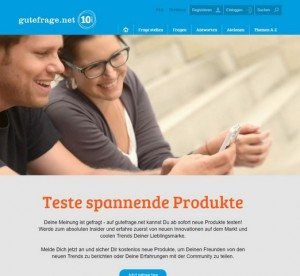 gutefrage.net Produkttest Startseite