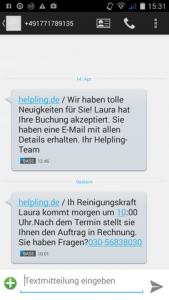 Helpling SMS