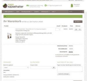 MeinKapselhalter.de Warenkorb