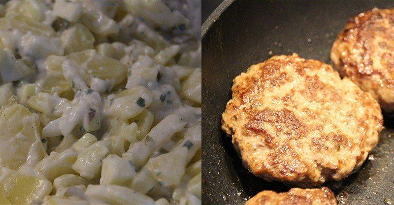 Rezept: Apfel-Kartoffelsalat mit Frikadellen