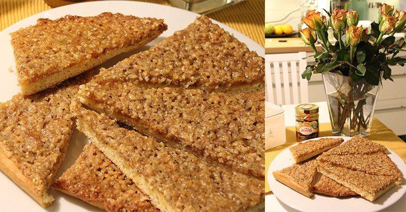 """Rezept: Nussecken mit Zentis Sonnen Früchte """"Creation des Jahres"""" Aprikose-Mandarine-Yuzu"""