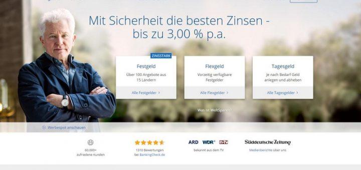 WeltSparen.de für besseren Zins beim Festgeld