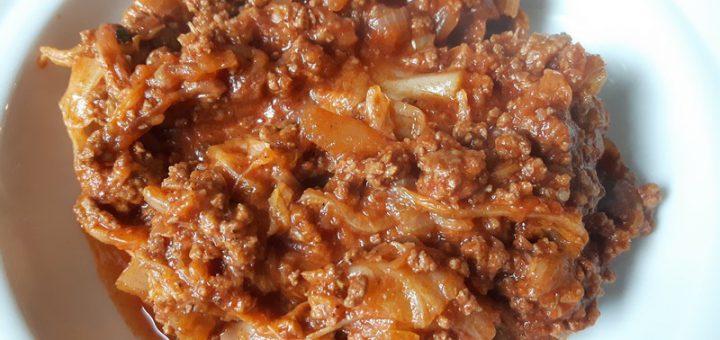 Rezept: Chinakohl-Hackfleisch-Pfanne (low carb)