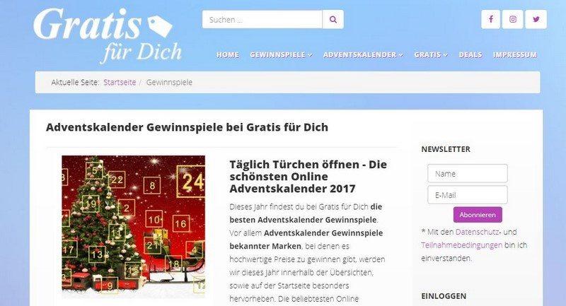 adventskalender gewinnspiel 2017 bei gratis f r dich. Black Bedroom Furniture Sets. Home Design Ideas
