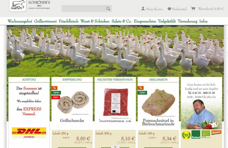 Bio-Fleisch & -Wurst einfach online bestellen bei bio-fleischer-laden.de