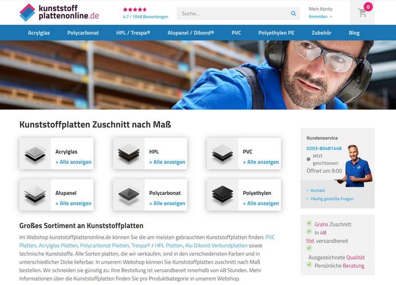 kunststoffplattenonline.de - Hochwertige HPL-Platten, Acrylglas & Co. nach Maß