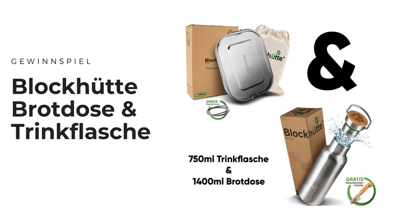 Blockhütte Edelstahl Trinkflasche & Brotdose - Nachhaltigkeit in Büro, Schule, Uni & Co.