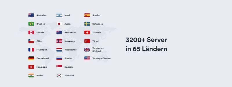 Surfshark VPN Länder