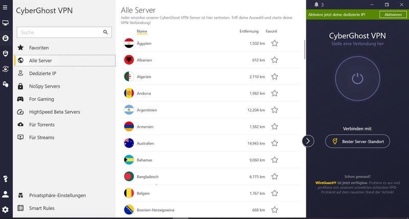 CyberGhost VPN - Komplette digitale Privatsphäre für nur 1,90 Euro / Monat